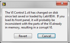 Error: VI Has Changed on Disk Since Last Saved or Loaded by