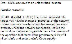 My Network Connection to my cRIO Is Timing Out, Error -63043