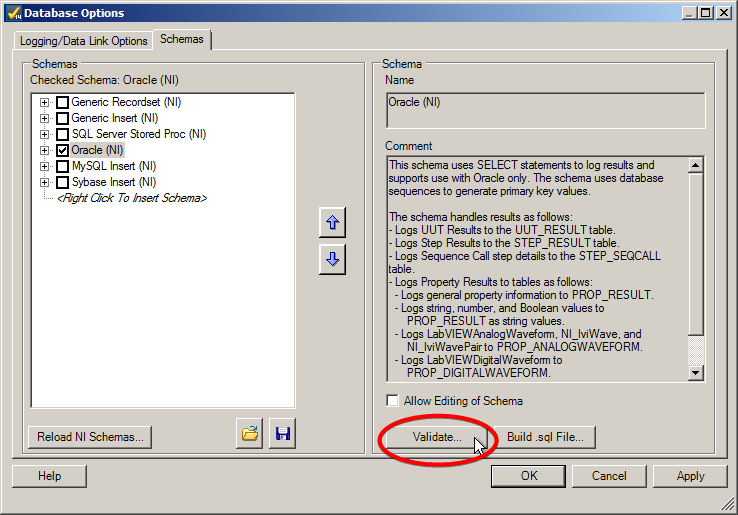 SQL Error ORA-00906 When Setting Up Oracle Database to Log TestStand