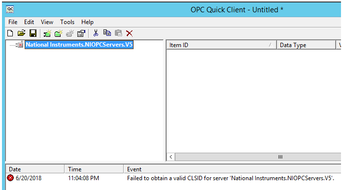 Failed to Obtain a Valid CLSID for Server Error in OPC Quick