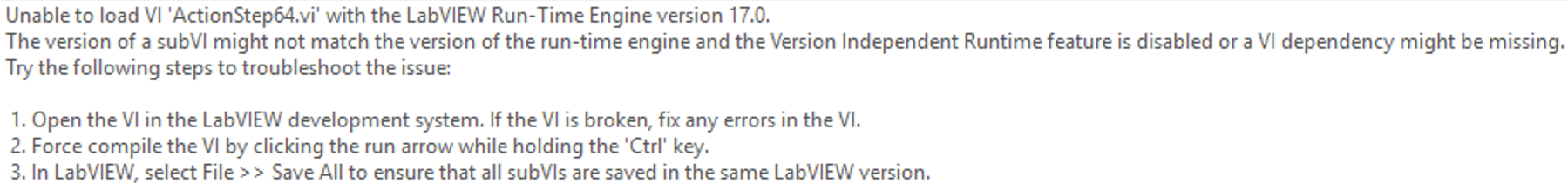 Error Loading LabVIEW VI with the TestStand Run-Time Engine Adapter
