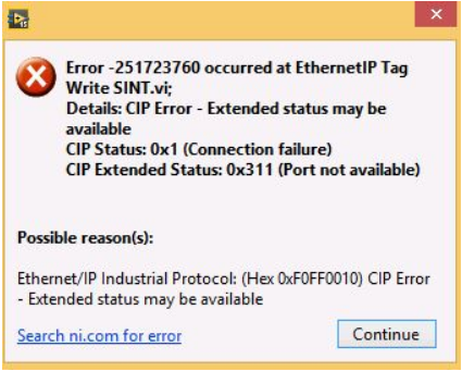 CIP Error - CIP Extended Status: 0x311 with the EtherNet/IP driver