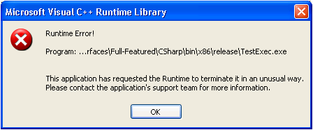 My TestStand UI Throws a Microsoft Visual C++ Runtime Error After