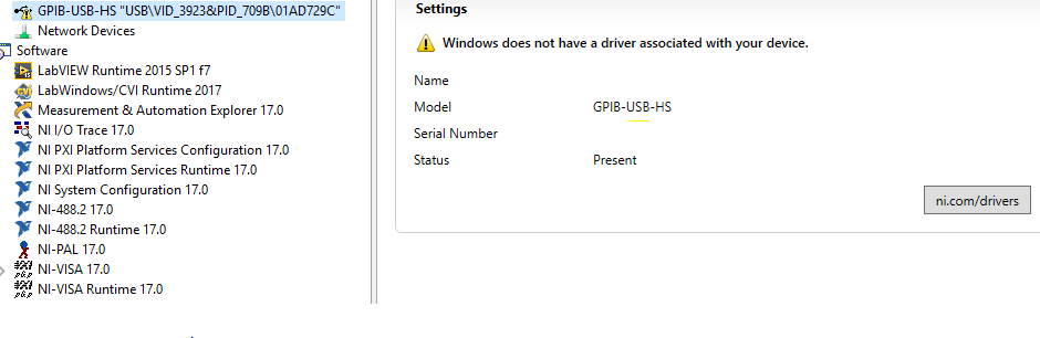 GPIB-USB Error in MAX: Driver Not Associated - National