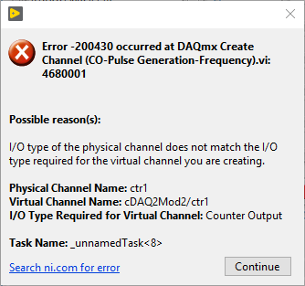 Error -200430 Occurred at DAQmx Create Channel - National Instruments