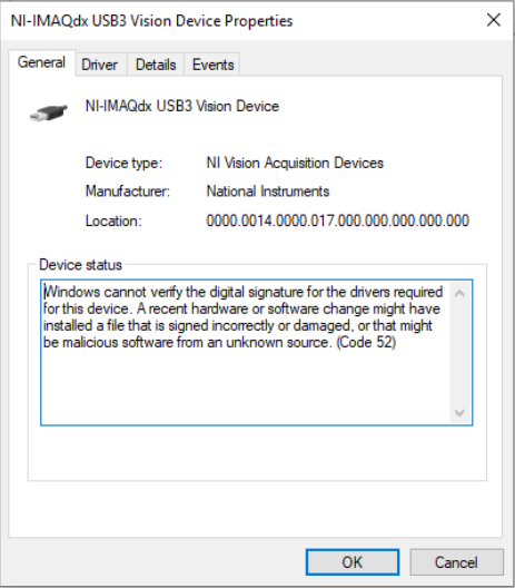 Error 0x80070015, 0xBFFF801D, or Code 52 When Detecting USB3