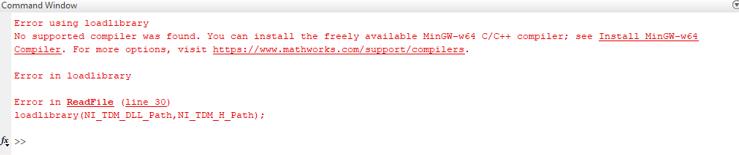 Error Using Loadlibrary When Using Matlab TDM Example - National