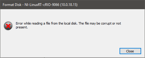 Error While Reading From the Local Disk When Formatting Real