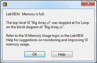 Memory Is Full Error in LabVIEW - National Instruments