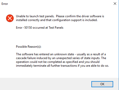 Error -50150: Unable to Launch Test Panels - National
