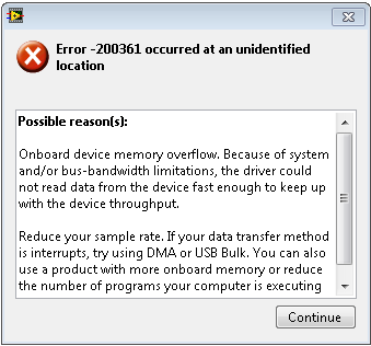 USB-6000/6008/6009 Error -200361: Buffer Overflow Error - National