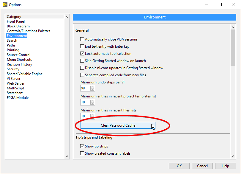Remove Stored Passwords from LabVIEW's Password Cache