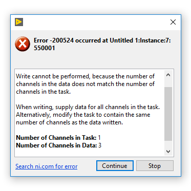 Error -200524 Channels in Data Doesn't Match Channels in