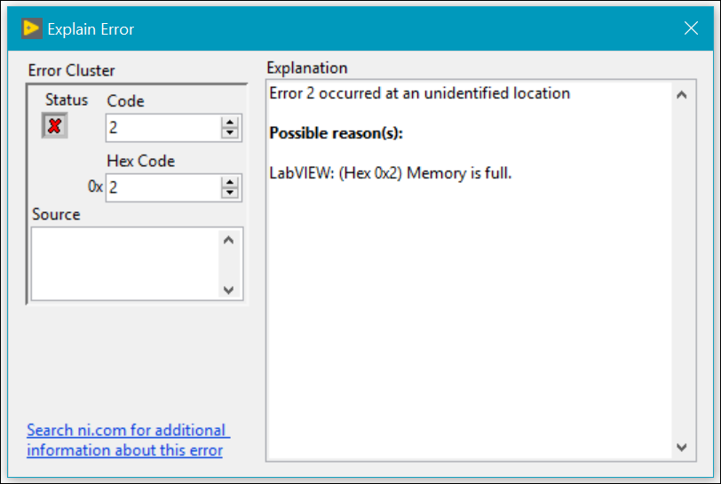 Error 2 (Memory Full) When Using the System Exec VI - National
