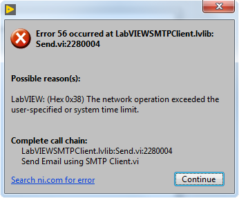 Error 56 While Sending an Email via SMTP Server - National Instruments