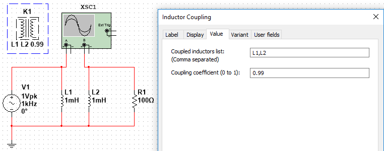 Coupling Two or More Inductors in NI Multisim - National