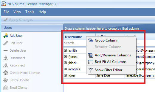 Exporting Users and Computers from NI Volume License Manager 3 x to